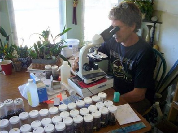 Author at his makeshift lab bench