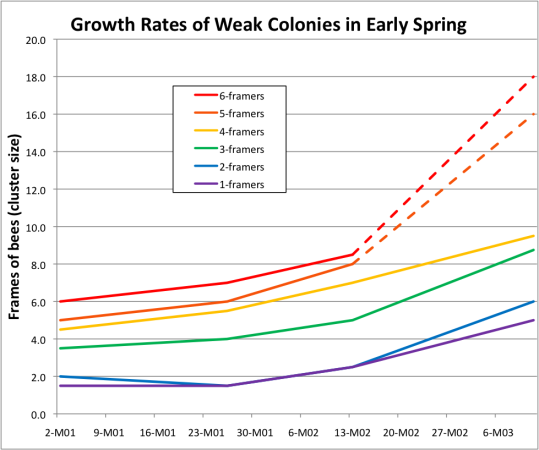 Growth Rates of Weak Colonies in Early Spring