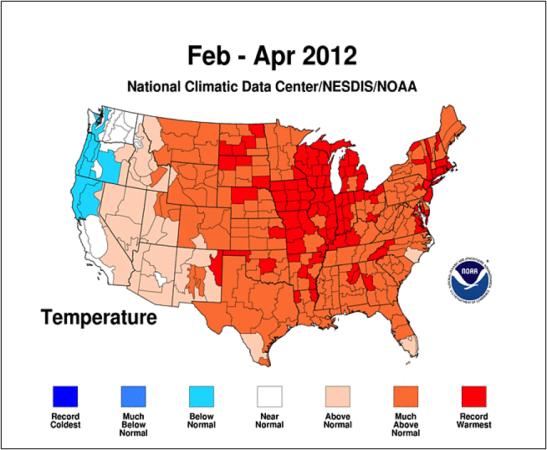 Figure 3.  Last year's warm spring in much of the country lead to early broodrearing, and as a result, early buildup of varroa levels.  Note the record warm spring in the Midwest.