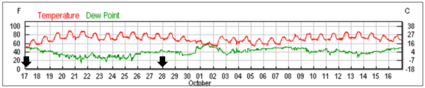 Figure 5b. Temperature data from a nearby (slightly higher and cooler elevation) weather station (KGOO). Dates of treatments indicated by black arrows. All hives were in full sun; the high temp shortly after the first treatment was 93°F (39°C). Chart from wunderground.com.