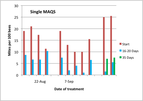 Figure 12.  Mites levels in highly-infested hives late in the season at time of treatment and at intervals thereafter.  Red bars are initial mite levels, blue and green bars represent mite levels after one or two mite reproductive cycles, respectively.  Note the greater degree of mite reduction by the treatment in the later-applied treatments.  I apologize for not having data for control colonies [8].