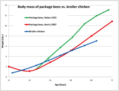 Body mass of package bees vs. broiler chicken